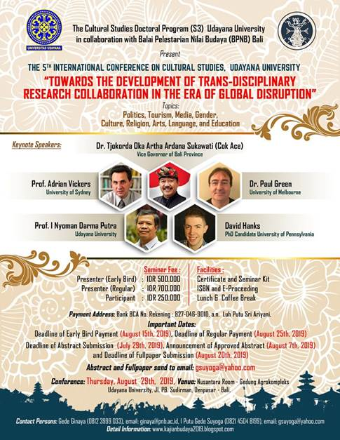 US Fulbright-Hays Researcher to Speak at the 5th International Conference on Cultural Studies in Bali